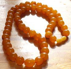 Baltic amber orange/ caramel colour necklace, weight 45 gr.