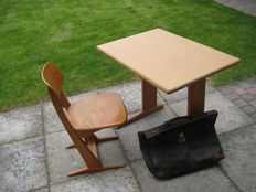 Vintage Casala school desk with Chair and leather bag, ca. 1960