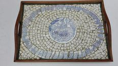 Wood tray/ceramic mosaic