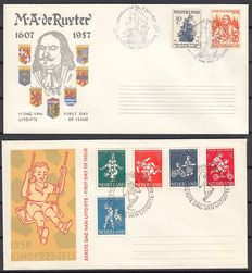 The Netherlands 1957/1958 - FDC De Ruyter and Child - NVPH E30 E36 with inspecion 'befunds' (findings)