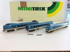 """Trix N - 12829 – 3-piece E-train unit """"Frontrunner KLM"""" of the NS, with interior lighting (941)"""