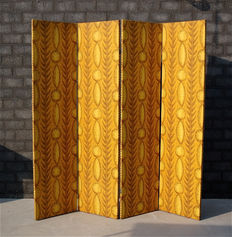 Four panel room divider with African print, second half 20th century,