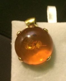 Pendant in 18 kt yellow gold with Baltic amber.