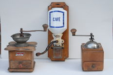 Three coffee grinders, the Netherlands, Germany and Belgium, ca. 1950