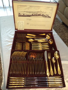 Solingen cutlery case 'der hersteller ' 78 -piece 23/24ct gold plated