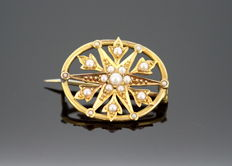 Antique 18K Yellow Gold Brooch With Seed Pearls (0.29 CT Total), c.1910