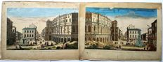 2 Optical engravings by an Unknown artist (18th century -  Rome view at the Theatre with Fountains - c.1750