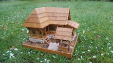 3D wooden house model, second half 20th century,Romania