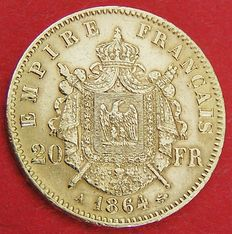 France - 20 Francs 'Napoleon III' - 1864 - Paris - Gold
