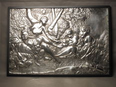 A very large original electroplated copper hand chassed relief, signed JOSE-LUIS MARTIN ATENCIA and dated 1977