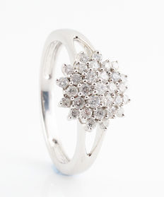 Palladium 585, white diamond cocktail ring with diamond, 0.52 ct. G-H / VS2-SI1 / ring size 54.