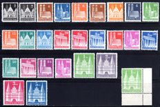 Allied Occupation 1949 - batch with so-called construction series Michel 73/100l wg and spirula spirula with double overprint