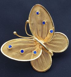 Vintage 1970s - Gold plated Butterfly Brooch with blue rhinestones - Pristine