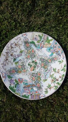 Green Cantonese family plate - India Company - China - 19th century