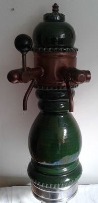 Beautiful old ceramic and copper beer pump