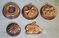 Lot of 5 copper pudding Moulds