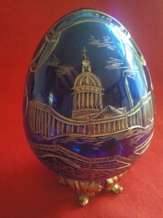 Vintage cobalt blue crystal egg with gold engraved images