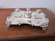 Silver plated & Cut Glass Inkwell on Stand in Louis XV style, England, first half 20th century