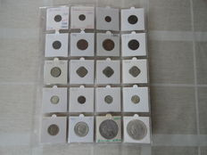 The Netherlands – ½ cent up to and including 2½ guilder 1876/1940 (20 pieces), including silver