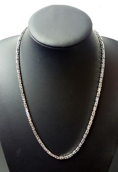 925 Silver king's braid link necklace, 55 cm