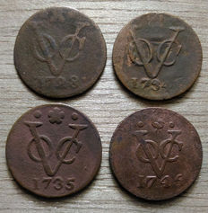 Dutch East Indies and Java - 1 Duit V.O.C. 1728/1791 (20 pieces) + Duit Java 1806/1812 (5 pieces)