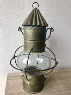 Antique copper ship's lamp - completely riveted