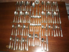 Elegant (800 SILVER PLATED) vintage cutlery set for 12 people Vintage late 19th century