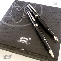 "MONTBLANC Meisterstuck 145 (""Chopin"") Fountain Pen and 163 (""Classique"") Rollerball Pen Set in Platinum-finish trim"