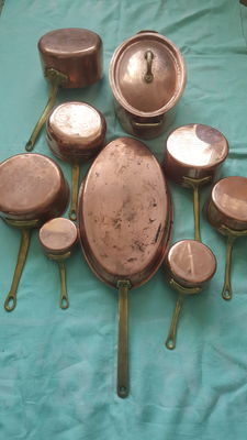 Copper saucepans set of nine