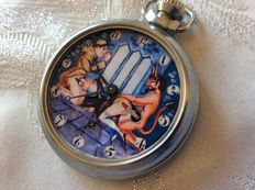 Vintage 1960s  Ingersoll Erotic Automaton Pocket Watch Devil Monk and Nun