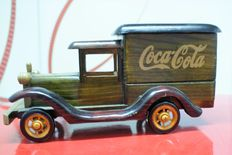 Coca-Cola wooden truck with rear box, in perfect condition, swivel wheels