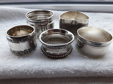 A Collection of 5 silver napkin rings first half XXth century