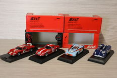 Best Model / Bang - Scale 1/43 - Lot with 4 models:  Porsche 908, Le Mans  1970 & Porsche 908 Targa Florio 1971 & Ferrari 275 GTB , Le Mans 1969 & Ford MK,  Le Mans 1966