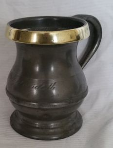 Victorian tin and copper jug by WR Loftus.
