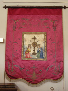 Silk Processional Sacred Banner- Italy - Late 19th century
