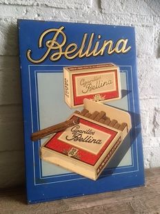 Metal advertising sign 'Bellina Cigarillos' from 1950, antique tin sign, Original!!