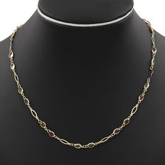 Yellow gold (18 kt) necklace with coloured stones