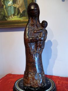 Sculpture of Mary with child - Wood - France