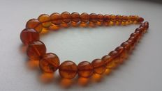 Vintage amber necklace, cognac colour beads, pressed Baltic amber necklace, 44 gr