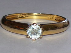 14 karat yellow gold ring with a light blue topaz