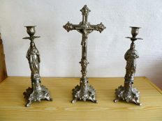 Altar crucifix with 2 matching candle holders - presumably Flemish - 19th century
