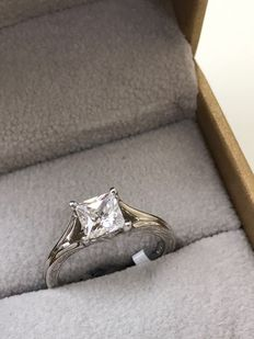 18K White Gold Solitaire Engagement Ring with 1.04 Ct. Diamond - G VS1 -  size 51
