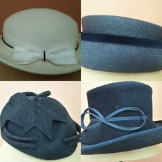 5 vintage hats, including a Seeberger, French children's hat