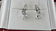 14 kt white gold earrings with diamonds 1.84 ct