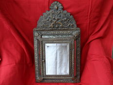 Antique crested mirror cabinet with brushes