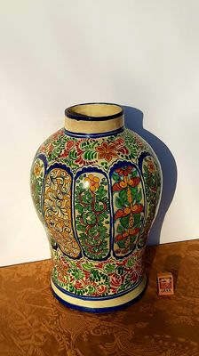 Very large baluster vase pottery with floral pattern