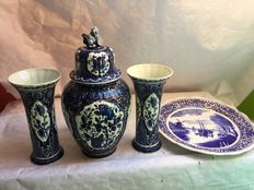 Large cabinet set and wall scale, Boch made for Royal Sphinx Delftware