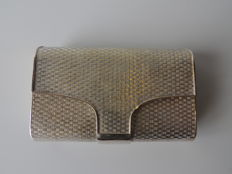 Evening clutch in silver-plated metal - rigid - circa 1950