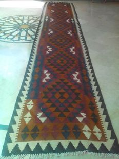 15.8 + FEET LONG - Maimana Hand Woven Kilim Runner Double Face Design - 482 x 89 CM - EXCELLENT CONDITION - No Reserve