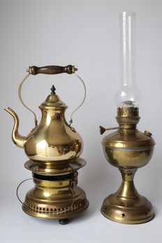 Copper oil lamp and coffee set, first half of the 20th century